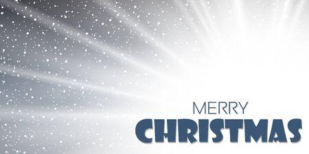 Christmas background. Merry Christmas wish, Happy New year holiday winter Xmas card. Vintage greeting sun rays design. Snowflake snow decoration. Magic shine star, sparkle Vector illustration