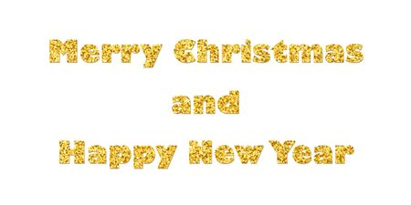 Marry Christmas and Happy New Year gold text decoration. Bright golden texture with sparkle, isolated white background. Design typography for holiday, greeting card, celebration Vector illustration Ilustracja