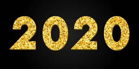 Happy New Year gold number 2020. Bright golden design with sparkle, isolated black background. Holiday glitter typography for Christmas banner, calendar, decoration, greeting card Vector illustration