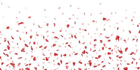 Heart falling confetti isolated white background. Red fall hearts. Valentine day decoration. Love element design, hearts-shape confetti invitation wedding card, romantic holiday Vector illustration Ilustracja