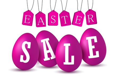 Easter egg text sale. Happy Easter eggs 3D template isolated on white background. Design banner, greeting poster, promotion, holiday decoration, special offer. Label tag discount Vector illustration