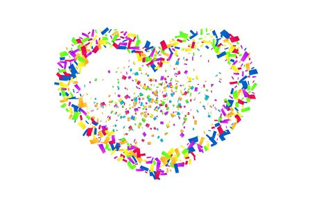 Heart confetti isolated white background. Fall color confetti, heart-shape. Valentine day holiday, romantic wedding border card. Valentines decoration frame. Greeting love design Vector illustration