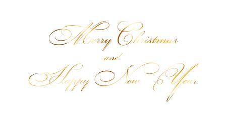 Merry Christmas and Happy New Year gold text decoration. Bright golden texture lettering with sparkle, isolated white background. Design typography for holiday, greeting card Vector illustration