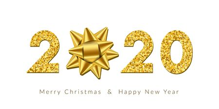 Merry Christmas card with text. 3D ribbon bow, gold number 2020 isolated white background. Golden texture holiday design. Happy New Year celebration, decoration, greeting banner Vector illustration Ilustracja