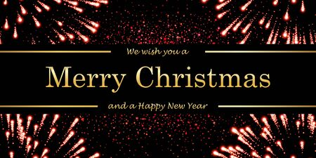 Marry Christmas and Happy New Year card, magic red firework, black background. Gold text, symbol holiday celebration. Golden light sparkle decoration. Bright shiny template Vector illustration