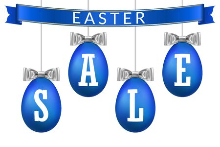 Easter egg sale 3D banner set. Ribbon bow, white text, blue hanging eggs, isolated background. Design poster, promotion decoration, special offer, best price. Label tag discount Vector illustration