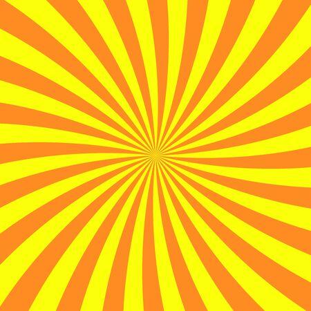 Sun rays background. Yellow orange radiate sun beam, burst effect. Sunbeam light flash boom. Template poster sale. Sunlight star, sunrise burst. Solar radiance glare, retro design Vector illustration