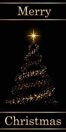 Christmas tree card, text, black background. Gold Christmas tree, symbol Happy New Year, Merry Christmas holiday celebration. Golden light, sparkle decoration. Bright shiny design Vector illustration