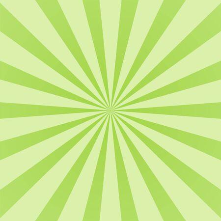 Green ray background. Vintage abstract texture. Retro starburst, sun beam. Halftone color. Light burst. Bright shine sunburst. Empty blank, scrapbook surface. Clean nature energy Vector illustration