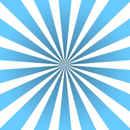 Sun rays background. Blue radiate sun beam burst effect. Sunbeam light flash boom. Template starburst poster. Sunlight star, sunrise glow burst. Solar radiance glare, retro design Vector illustration