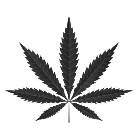 Icono de hoja de cannabis. Fondo blanco aislado silueta negra sativa indica. Planta de hierbas medicinales. Cáñamo de marihuana natural. Adicción, humo, droga, ilegal, narcótico, marihuana, diseño, vector, ilustración Ilustración de vector