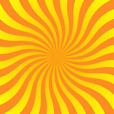 Sun rays background. Orange yellow radiate sun beam burst effect. Sunbeam light flash boom. Starburst poster. Sunlight star, sunrise glow burst. Solar radiance glare, retro design Vector illustration