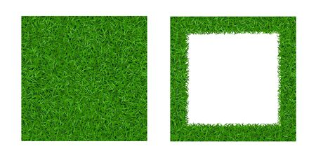 Green grass seamless pattern, isolated frame 3D. Background lawn nature. Abstract endless golf field texture. Symbol eco natural, growth. Meadow design card, wallpaper wrapping Vector Illustration