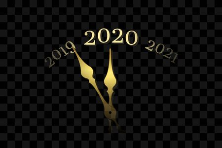 Happy New year 2020. Gold clock, arrows, isolated black transparent background. Golden design holiday banner, Christmas celebration party, header poster. Template decoration card Vector illustration Vettoriali