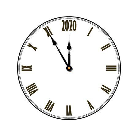 Feliz año nuevo 2020. Reloj negro, flechas, aislado sobre fondo blanco. Banner de vacaciones de diseño borroso, fiesta de celebración de Navidad, cartel. Ilustración de vector de tarjeta de decoración de plantilla Ilustración de vector