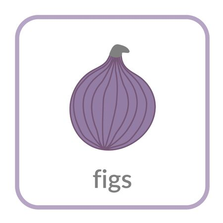 Figs icon. Purple outline flat sign, isolated white background. Symbol of health nutrition, eco food fruit. Contour linear shape. Sweet nutritious organic dessert. Cartoon design Vector illustration