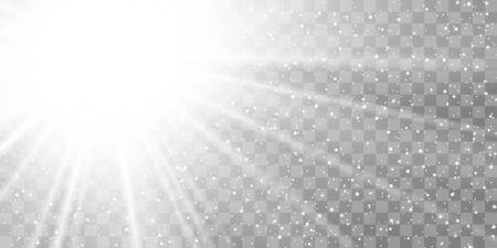 Light ray flare isolated on transparent background. Shine bright sun burst effect. Glow explosion flash. Gradient white star beam. Blast beam glare. Solar explode. Optic effect Vector illustration