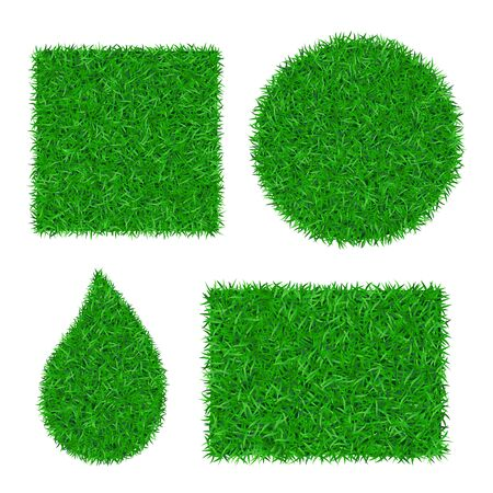Green grass background 3D set. Lawn greenery nature square, circle, rectangle, drop isolated on white. Field texture. Landscape grassland pattern. Grassy design. Grow meadow Vector illustration