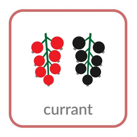 Currant icon. Red black berry, outline flat sign, isolated white background. Symbol of health nutrition, eco food fruit. Contour shape. Sweet organic dessert. Cartoon design Vector illustration