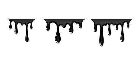 Drip paint 3D set. Ink stain. Drop melt liquid isolated on white background. Splash of chocolate, oil, blood. Black graffiti. Splatter syrup, candy sauce, caramel Vector illustration