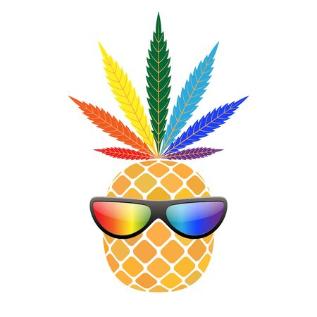 Pineapple golden with rainbow cannabis leaf, sunglasses. Tropical gold funny exotic fruit, isolated white background. Symbol of summer. Design element illegal narcotic Silhouette Vector illustration Illustration