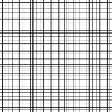 Cross line seamless pattern. Black grid lines, white background. Abstract stripes, geometric modern design. Simple repeat ornament. Design wallpaper textile, fabric. Fashion style Vector illustration