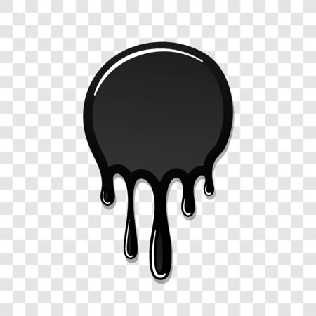 Drip paint 3D. Ink stain. Drop melt liquid isolated on white transparent background. Splash of chocolate, oil, blood. Black graffiti. Splatter syrup, candy sauce, caramel Vector illustration Ilustração