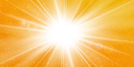 Strahlen gelber Hintergrund. Goldener sonniger Himmel. Hitze Sonnenbrand, heißes Wetter. Sonnenschein orangefarbener Himmel. Weißes warmes Sonnenlicht. Heller goldener Sonnensonnenaufgang, Sommerschablone. Linsenoptikeffekt Vektorillustration