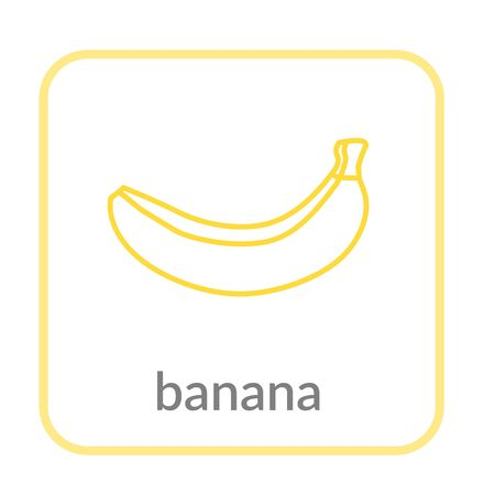 Banana icon. Yellow outline flat sign, isolated white background. Symbol health nutrition, eco food tropical fruit. Contour shape. Sweet nutritious organic dessert. Cartoon design Vector illustration