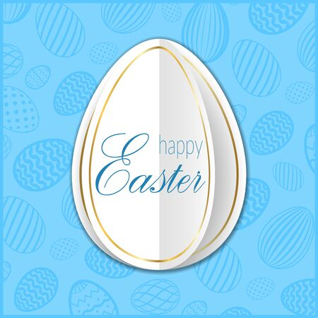Happy Easter background, pastel textured eggs. Gold decoration paper frame. Greeting Easter 3D card. Golden border template. Holiday design for poster, banner, invitation Vector illustration