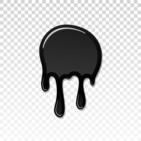 Drip paint 3D. Ink stain. Drop melt liquid isolated on white transparent background. Splash of chocolate, oil, blood. Black graffiti. Splatter syrup, candy sauce, caramel Vector illustration Ilustracja