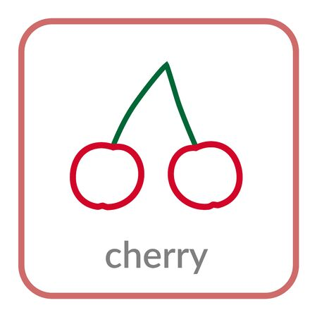 Cherry icon. Red cherries, outline flat berry sign, isolated white background. Symbol of health nutrition, eco food fruit. Contour shape. Sweet nutritious organic dessert. Cartoon Vector illustration