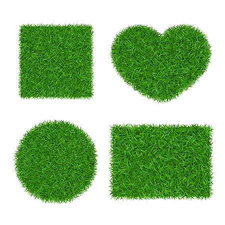 Green grass background 3D set. Lawn greenery nature ball, heart. Abstract soccer field texture circle, square, rectangle. Ground landscape pattern. Grassy beautiful grow meadow Vector illustration