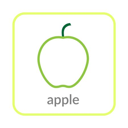 Apple icon. Green outline flat sign, isolated white background. Symbol of health nutrition, eco food fruit. Contour linear shape. Sweet nutritious organic dessert. Cartoon design Vector illustration
