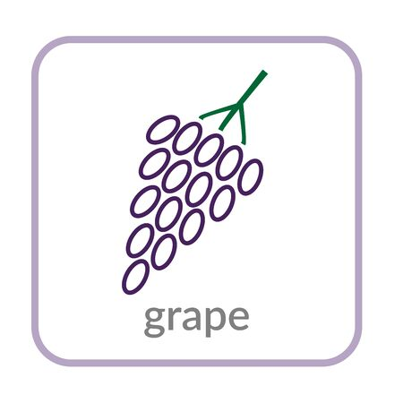 Grape bunch icon. Purple berry, outline flat sign, isolated white background. Symbol vineyard, alcohol drink. Health nutrition, eco food fruit. Contour. Nutritious organic dessert Vector illustration Ilustrace