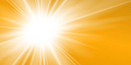 Rayons fond jaune. Ciel ensoleillé d'or. Sunburs de chaleur, temps chaud. Ciel orange soleil. Soleil blanc chaud. Lever du soleil solaire doré brillant, modèle d'été. Effet optique de lentille Illustration vectorielle Vecteurs