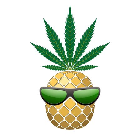 Pineapple golden with green cannabis leaf, sunglasses. Tropical gold funny exotic fruit isolated white background. Symbol of summer. Design element illegal narcotic. Silhouette Vector illustration