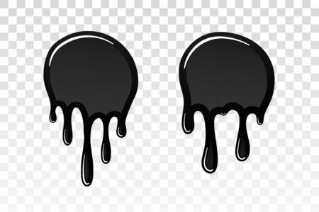Drip paint 3D set. Ink stain. Drop melt liquid isolated on white transparent background. Splash of chocolate, oil, blood. Black graffiti. Splatter syrup, candy sauce, caramel Vector illustration Illusztráció