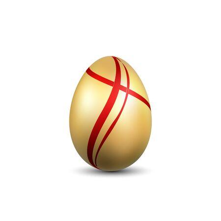 Easter egg 3D icon. Gold red egg, isolated white background. Bright realistic design, decoration for Happy Easter celebration. Holiday element. Shiny pattern. Spring symbol Vector illustration Vektorgrafik