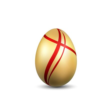 Easter egg 3D icon. Gold red egg, isolated white background. Bright realistic design, decoration for Happy Easter celebration. Holiday element. Shiny pattern. Spring symbol Vector illustration