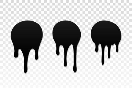 Drip paint set. Ink stain. Drop melt liquid isolated on white transparent background. Splash chocolate, oil, blood. Black splatter syrup, candy sauce, caramel. Color easy to edit Vector illustration
