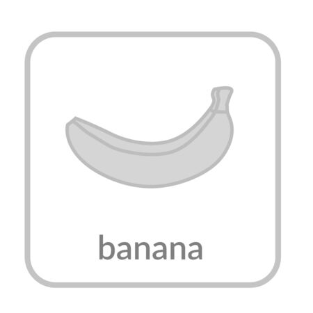 Banana icon. Gray outline flat sign, isolated white background. Symbol health nutrition, eco food tropical fruit. Contour shape. Sweet nutritious organic dessert. Cartoon design Vector illustration