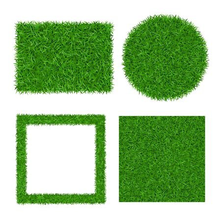 Green grass background isolated 3D set. Lawn greenery nature ball. Soccer field texture circle, square frame, rectangle. Ground grassland pattern. Grassy design. Grow meadow Vector illustration Ilustração Vetorial