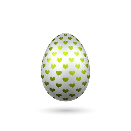 Easter egg 3D icon. Silver color egg, isolated white background. Bright realistic design, decoration for Happy Easter celebration. Holiday element. Shiny pattern. Spring symbol Vector illustration