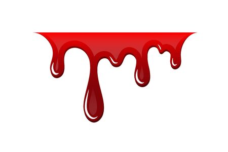 Blood drip 3D. Drop blood isloated white background. Happy Halloween decoration design. Red splatter stain splash spot, horror blot. Bleeding bloodstain scare texture. Liquid paint Vector illustraton Illustration