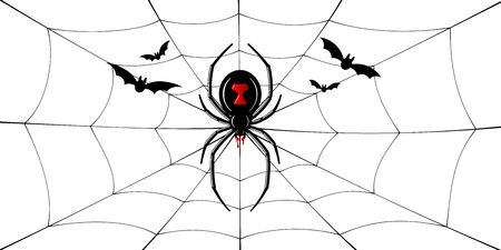 Spider Black Widow, cobweb, bats. Red black spider 3D, spiderweb, isolated white background. Scary Halloween decoration web. Symbol networking, animal arachnid, creepy insect fear Vector illustration