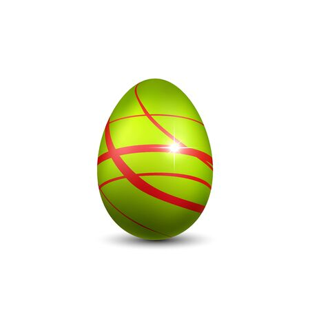 Easter egg 3D icon. Green red egg, isolated white background. Bright realistic design, decoration for Happy Easter celebration. Holiday element. Shiny pattern. Spring symbol Vector illustration 向量圖像