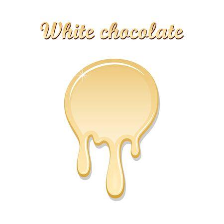 Chocolate drip splash. White chocolate liquid blot isolated white background. Shape melt dessert spot. 3D realistic design stain element. Food decoration. Chocolate splashing Vector illustration