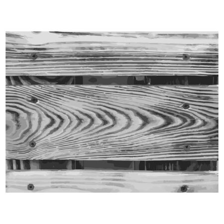 Wooden texture black white. Wood grain background. Timber outline grunge wood cover. Nature tree wallpaper. Gray overlay vein. abstract decoration table, floor, board frame, box Vector illustration