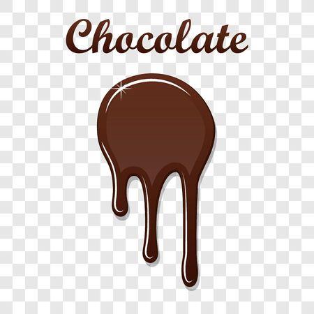 Chocolate drip splash. Liquid blot isolated white transparent background. Melt dessert spot. 3D realistic design stain element. Food decoration. Milk, dark chocolate splashing Vector illustration